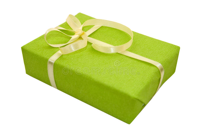 弓配件箱礼品绿色丝带缎黄色 免版税库存照片