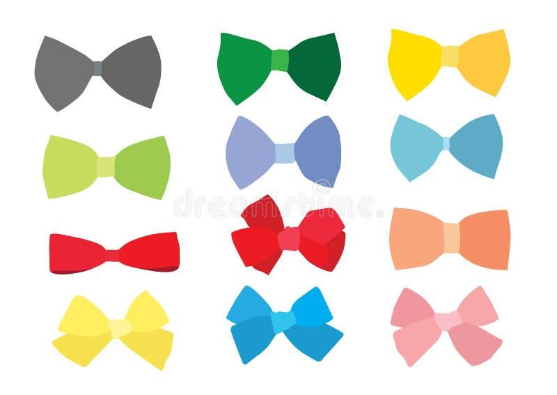 弓颜色的设计和五颜六色多彩多姿的弓 向量例证
