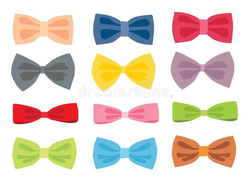 弓颜色设计和多彩多姿的弓五颜六色在白色背景 库存例证