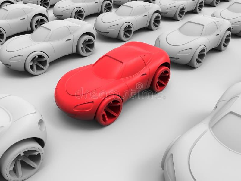 引人注意红色的汽车 向量例证
