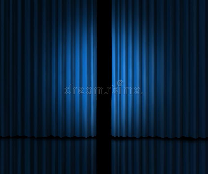 引入阶段的蓝色窗帘 皇族释放例证