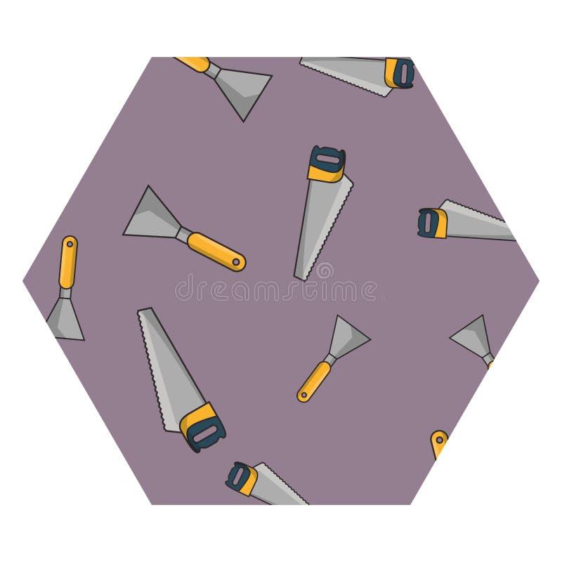 引形钢锯和小铲六角形框架 皇族释放例证
