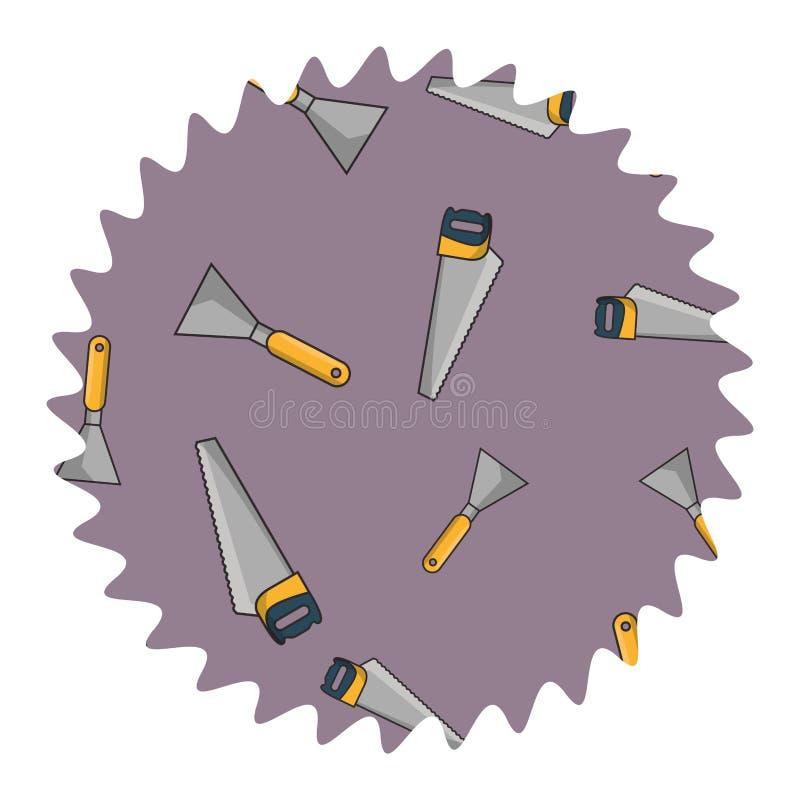 引形钢锯和小铲圆的标签 库存例证