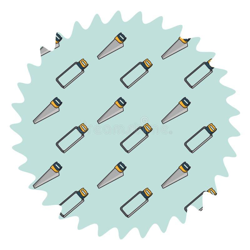 引形钢锯和锯圆的标签 皇族释放例证