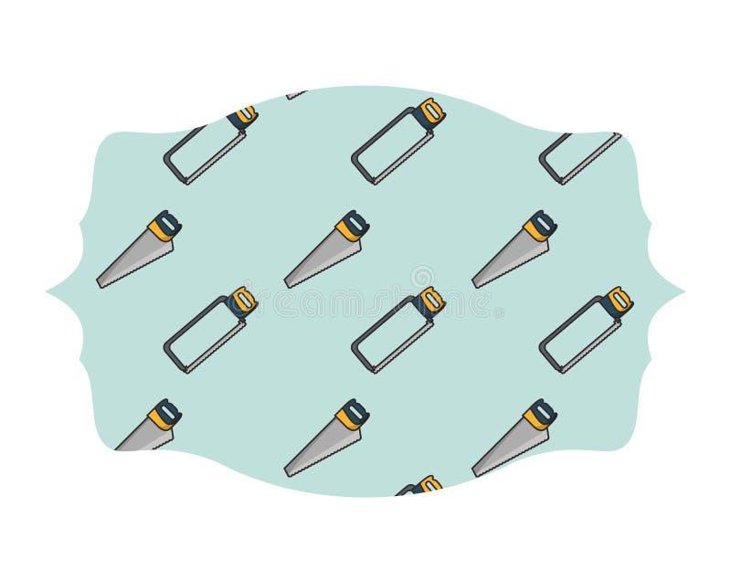 引形钢锯和锯标签框架 库存例证
