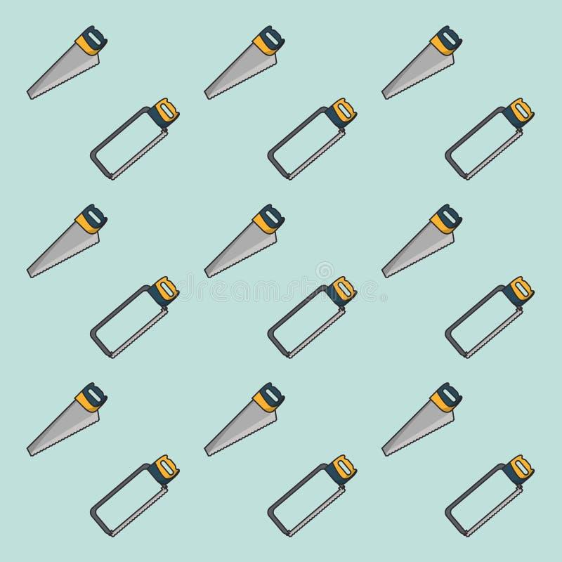 引形钢锯和锯样式背景 皇族释放例证