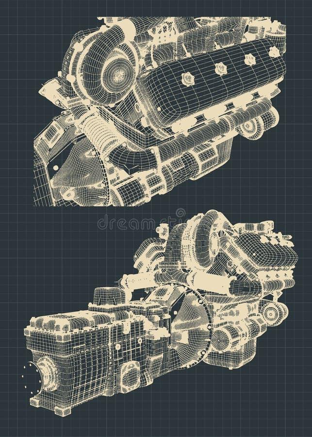 引擎和传动箱 皇族释放例证