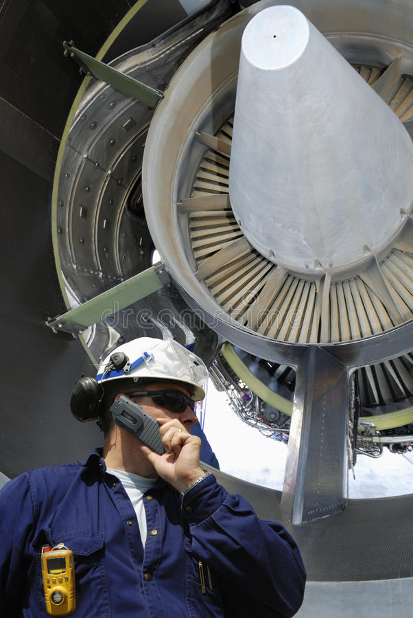 引擎喷气机技工 免版税库存照片