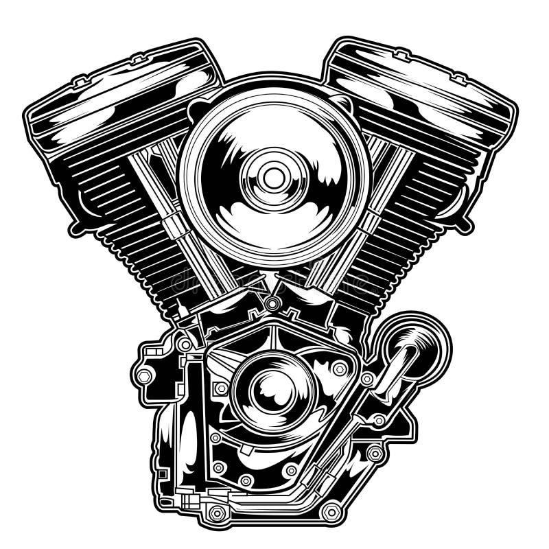 引擎摩托车传染媒介例证T恤杉丝屏罩电动机转速的美国自行车choppervector设计例证 向量例证