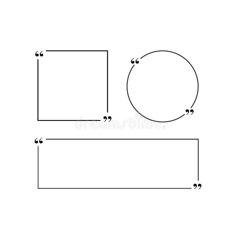 引文模板 与行情的创造性的传染媒介横幅例证在一个圆,方形或者长方形框架 隔绝  皇族释放例证