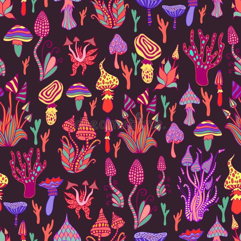 引起幻觉,装饰,意想不到的蘑菇,每个蘑菇有它自己的样式 无缝荧光的蘑菇 向量例证