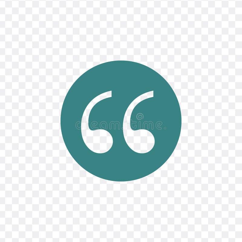 引述在透明背景隔绝的标记平的圈子传染媒介象 双重逗号标志的汇集引文的 库存例证