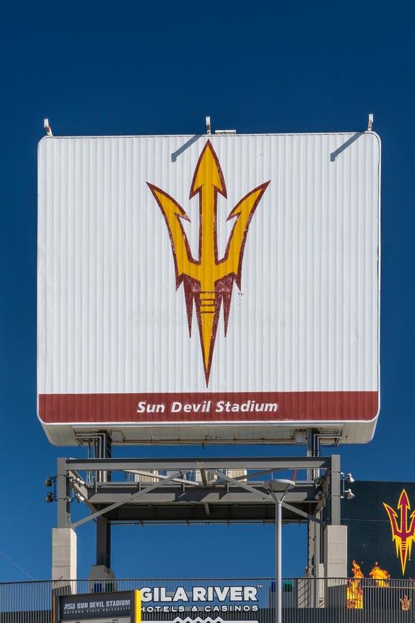 弗兰克在亚利桑那州立大学校园里的Kush Sun Devil体育场  免版税库存图片
