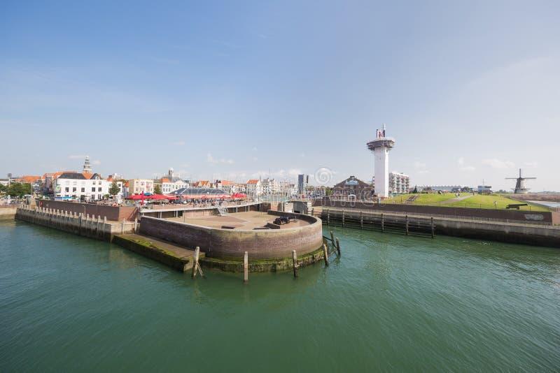 弗利辛恩海港入口  库存照片