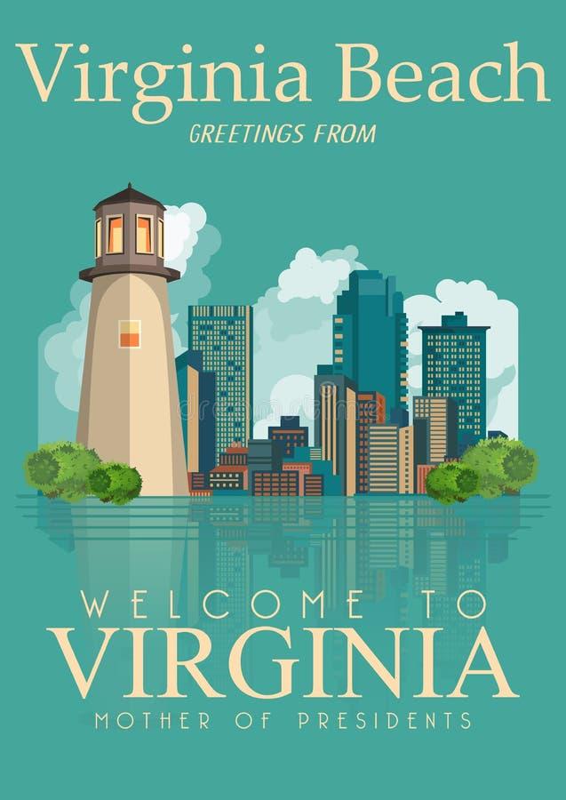 弗吉尼亚传染媒介美国人海报 欢迎光临弗吉尼亚海滩 库存例证