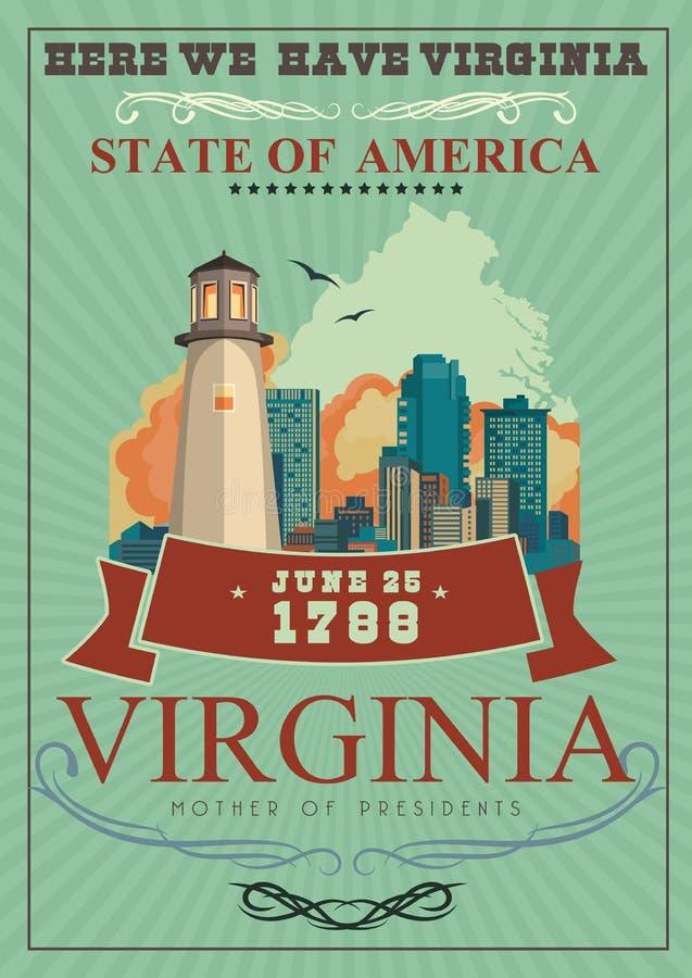 弗吉尼亚传染媒介美国人海报 这里我们有弗吉尼亚 皇族释放例证