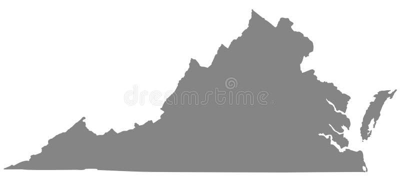 弗吉尼亚地图-状态在美国的东南和中部大西洋的地区 库存例证