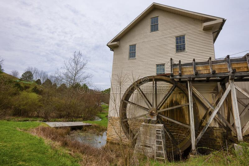 弗吉尼亚阿宾登的历史遗迹磨坊 库存照片