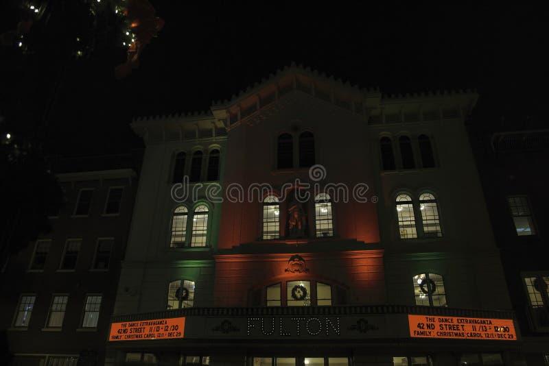 弗尔顿歌剧院在街市兰卡斯特,宾夕法尼亚 免版税库存照片