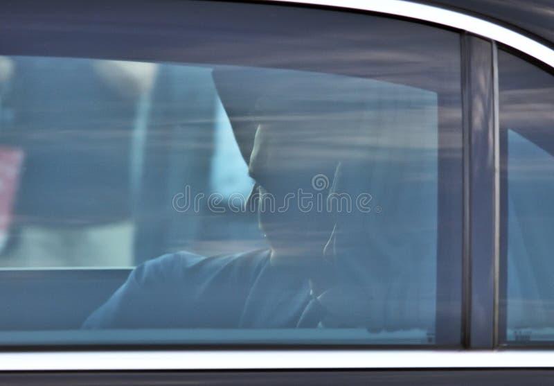 弗拉基米尔・普京在他的汽车坐2018年6月5日, 库存图片