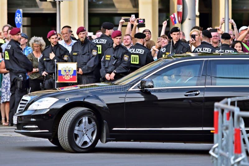 弗拉基米尔・普京车在2018年6月5日的维也纳 库存照片