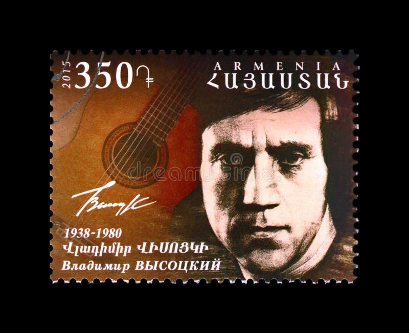 弗拉基米尔・维索茨基,著名俄国歌手,普遍的吟呦诗人歌曲作家,大约2015年, 库存照片