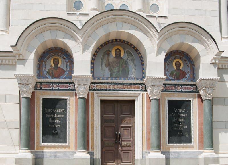 弗拉基米尔` s大教堂,海军上将地下埋葬室,塞瓦斯托波尔,克里米亚 库存照片