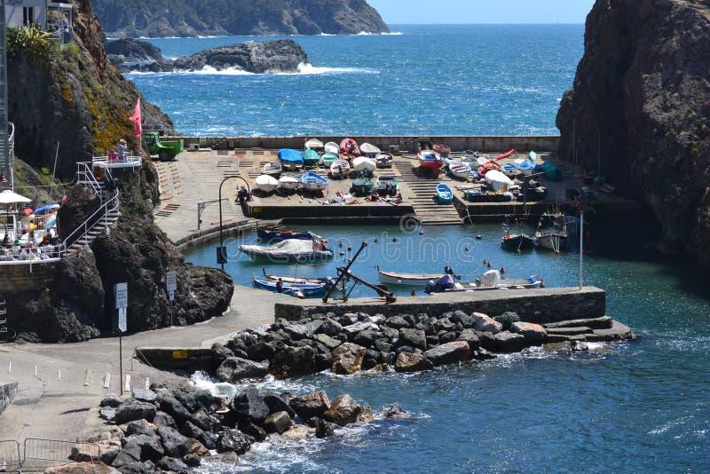 弗拉穆拉,利古里亚意大利小的港口  免版税库存图片