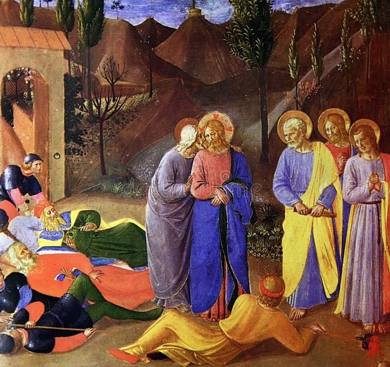 弗拉・安杰利科- Judas亲吻  库存照片