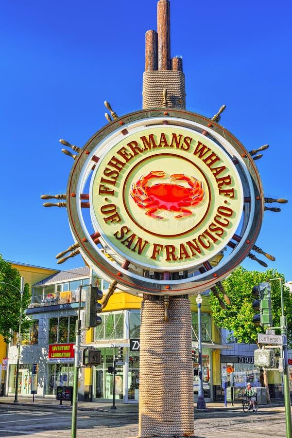弗朗西斯科・圣 渔夫` s码头 渔夫` s码头标志 免版税库存照片