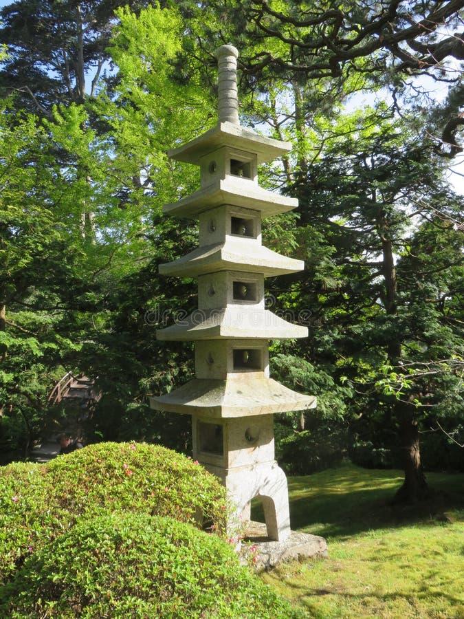 弗朗西斯科・圣 日本茶园在金门公园 春天 小的塔 库存图片
