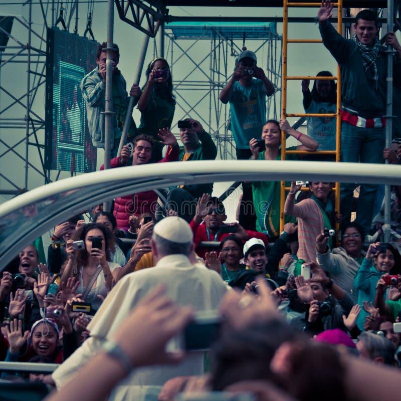 弗朗西斯Celebrates Mass On科帕卡巴纳教皇海滩 免版税库存照片