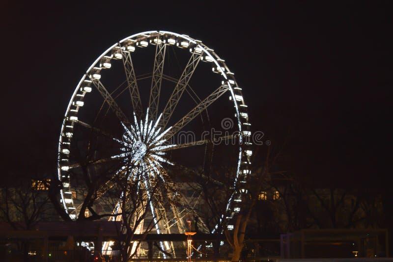 弗累斯大转轮夜光12月的在2018年1月1日布达佩斯 免版税库存图片
