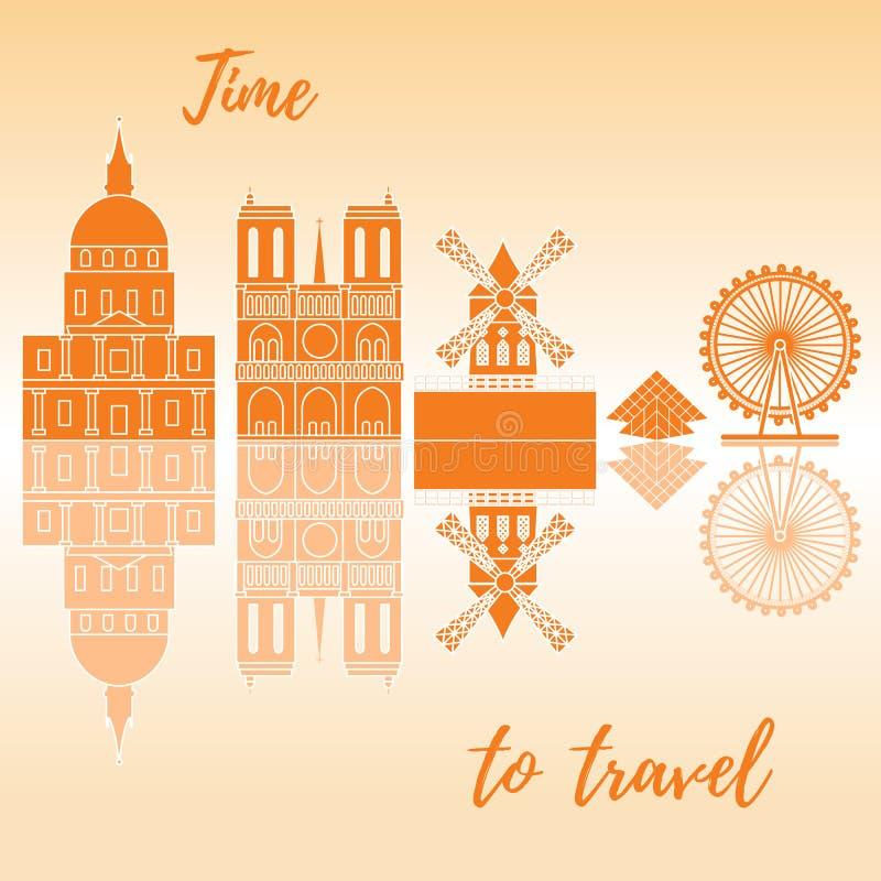 弗累斯大转轮,金字塔,余兴节目,大厦,大教堂 库存例证
