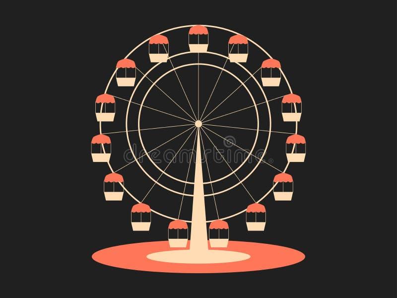 弗累斯大转轮 从游乐园的吸引力 减速火箭的样式,印刷设计 向量 皇族释放例证