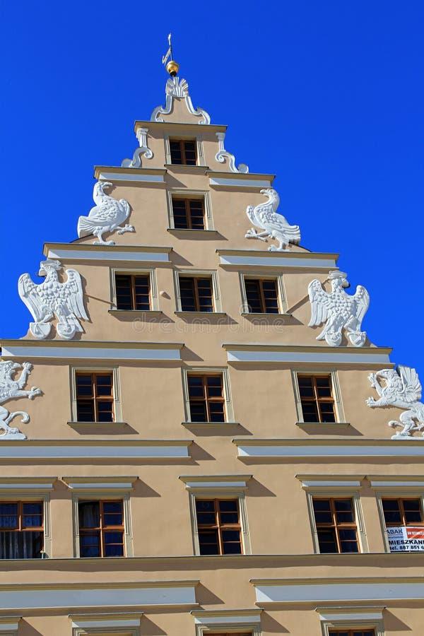 弗罗茨瓦夫,波兰,欧洲建筑学  市中心,五颜六色,历史集市广场廉价公寓 降低西里西亚,欧洲 库存图片