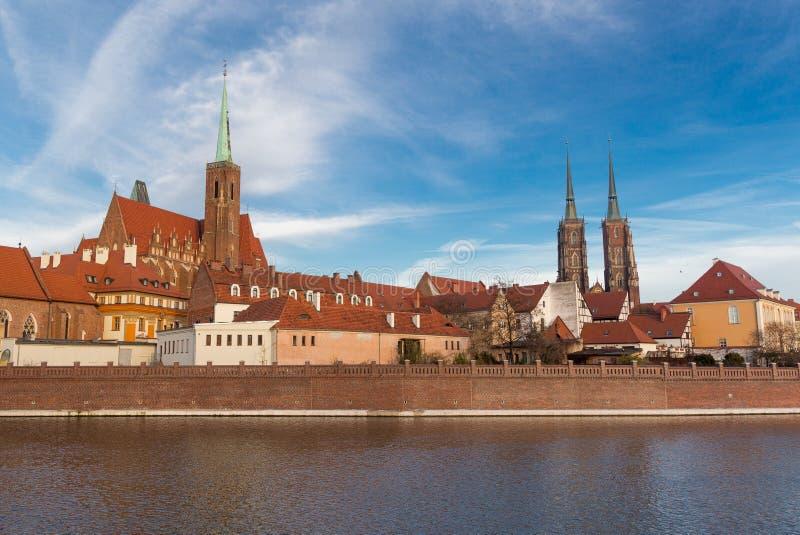 弗罗茨瓦夫ostrow城市的Tumski全景 图库摄影