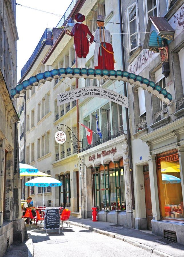 弗里堡街道,瑞士 免版税图库摄影