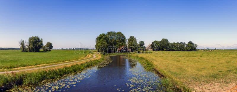 弗里斯兰省人开拓地风景在荷兰 免版税库存照片