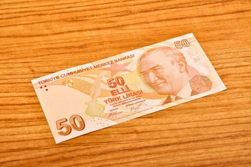 50张土耳其里拉钞票正面图 免版税库存照片
