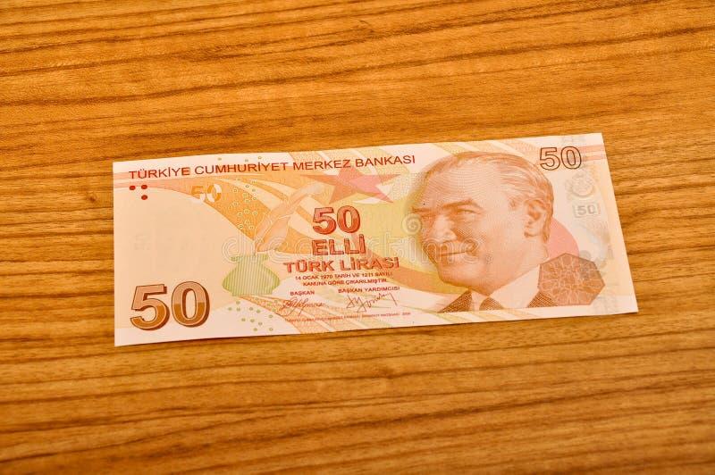 50张土耳其里拉钞票正面图 免版税库存图片