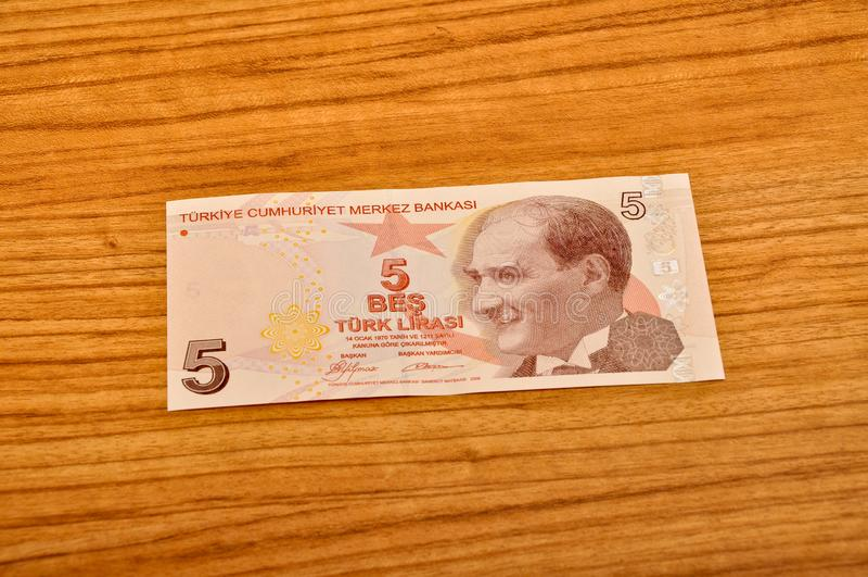 5张土耳其里拉钞票正面图 免版税库存图片