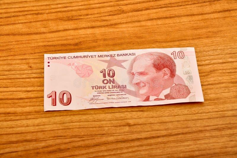 10张土耳其里拉钞票正面图 库存照片