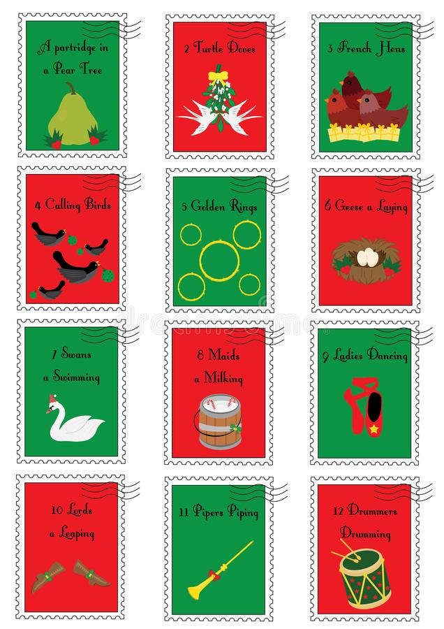 12张圣诞节邮票与十二天圣诞节 向量例证