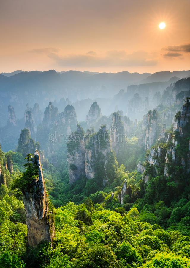 张家界日落的,武陵源,湖南全国森林公园, 免版税库存照片