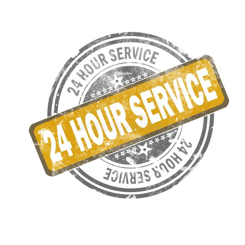24张小时服务黄色葡萄酒邮票 向量例证
