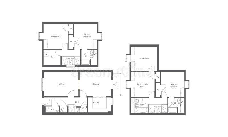 1张床, 2供住宿,并且3供公寓floorplans住宿 库存例证