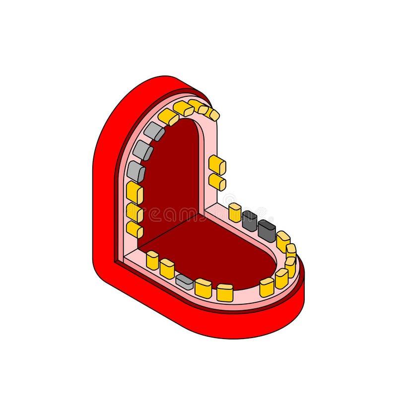 张开嘴和酸疼的牙 也corel凹道例证向量 皇族释放例证