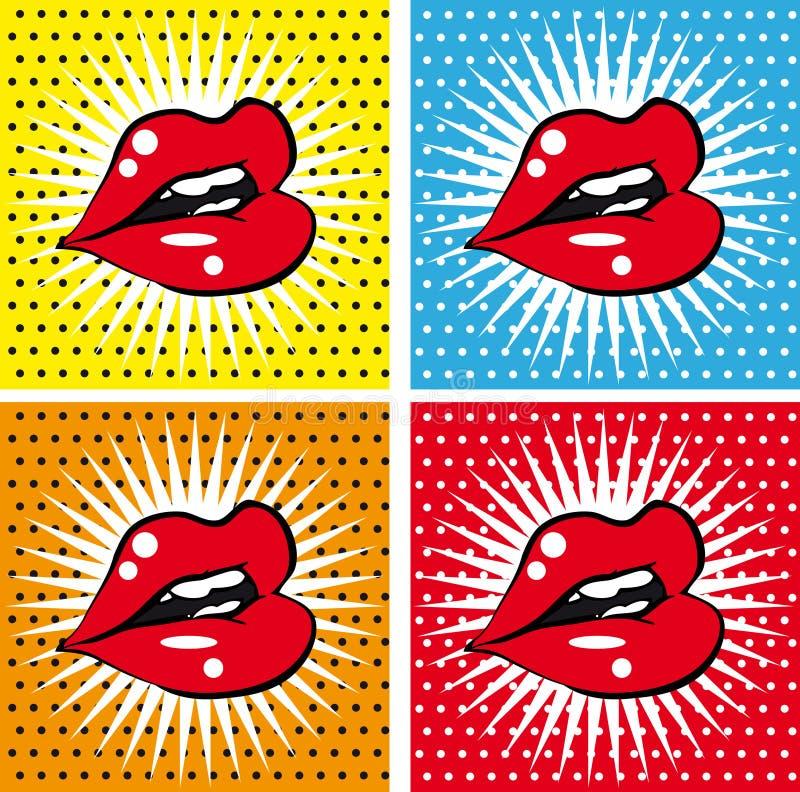 张开性感的湿红色嘴唇有牙流行艺术集合背景 皇族释放例证