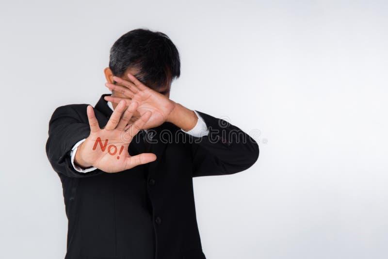 张开被举的手,没有被绘的标志,多目的概念 库存照片
